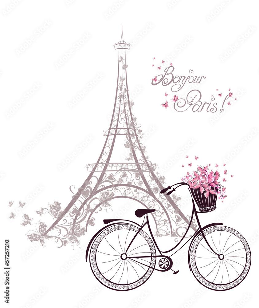 Tekst Bonjour Paris z Wieżą Eiffla i rowerem