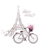 Fototapeta Fototapety z wieżą Eiffla - Bonjour Paris text with Eiffel Tower and bicycle