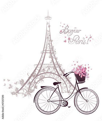 фотография Bonjour Paris text with Eiffel Tower and bicycle