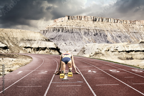 Woman mountain start