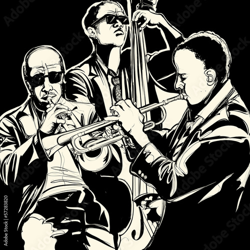 Poster Groupe de musique jazz band with trumpet and double bass