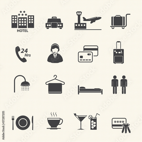 Hotel Services Icons set on texture background. Vector Canvas Print