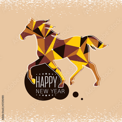 Poster Geometrische dieren New year card with horse