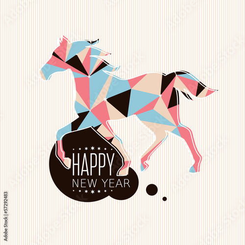 Poster Geometric animals New year card with horse