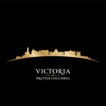 Victoria British Columbia Canada City Skyline Silhouette Black B