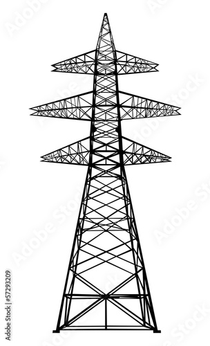 Valokuva  Power transmission tower. Isolated on white. Vector EPS10.