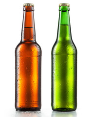 Fototapeta Bottles of beer with water drops on white background