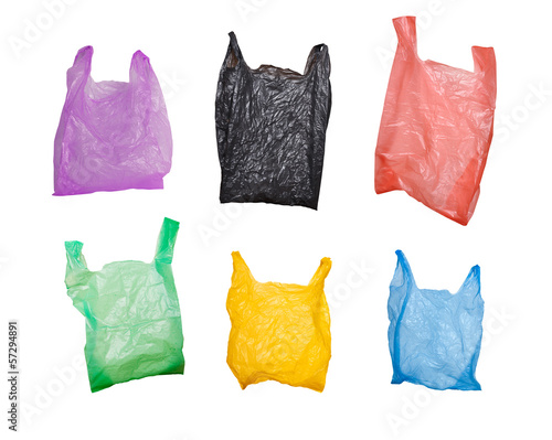 Fotografía  collection of various plastic bags isolated on white background