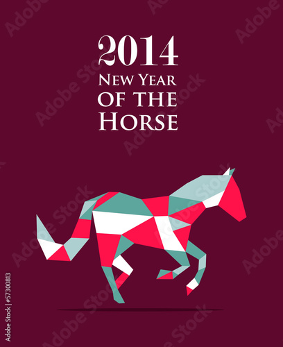 Poster Geometric animals Chinese new year of the Horse illustration vector file.