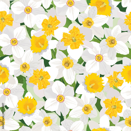 Cotton fabric Flower Daffodil seamless background. Floral spring texture