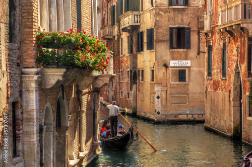 Photo sur Toile Venise Venice, Italy. Gondola on a romantic canal.