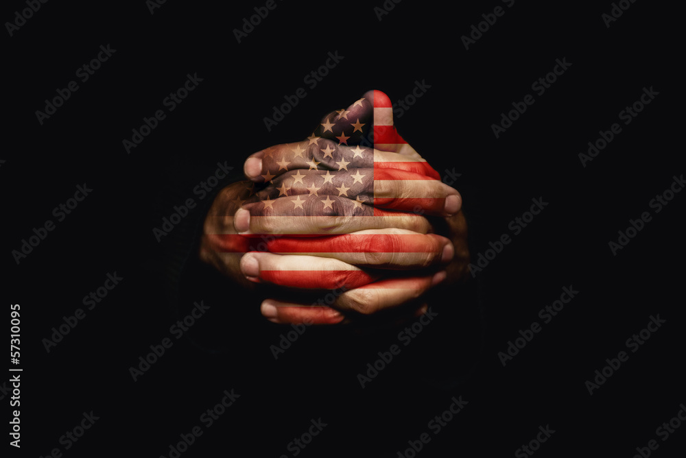 Fototapety, obrazy: Crossed hands with USA flag