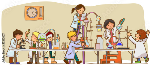 Fotografie, Obraz  Children are studying and working in the laboratory