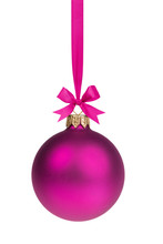 Single Simple Purple Christmas Ball Hanging On Ribbon
