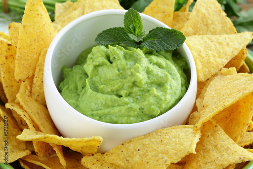 Fotografie, Obraz  cup with guacamole and corn chips