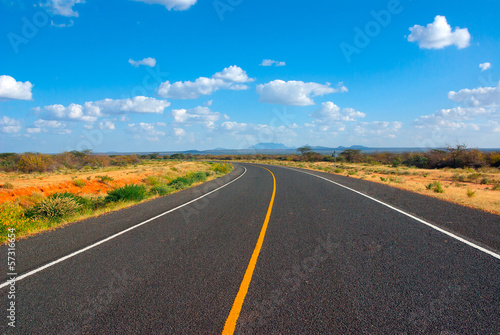 Poster Afrique du Sud Image of a asphalt road in the African savannah