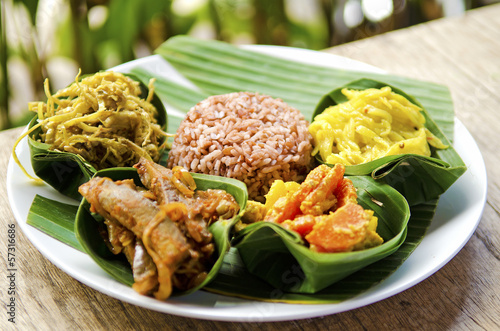 Deurstickers Indonesië traditional vegetarian curry with rice in bali indonesia