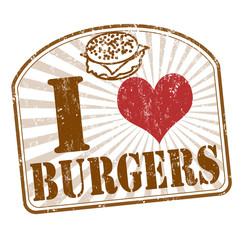 Panel Szklany Do steakhouse I love burgers stamp