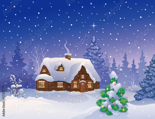 Tuinposter Purper Christmas house