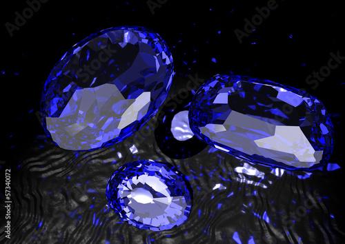 Canvastavla Saphire - blaue Schmucksteine