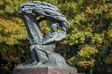 Panel SzklanyFrederic Chopin monument in Lazienki Park, Warszawa