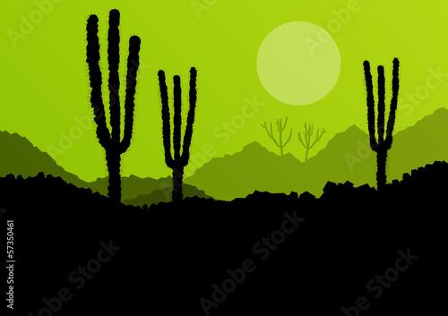In de dag Lime groen Desert cactus plants wild nature landscape illustration backgrou