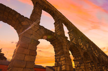 Majestic Sunset Image Of The Ancient Aqueduct In Segovia Spain