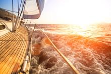 Sailing Yacht Against Sunset. ...