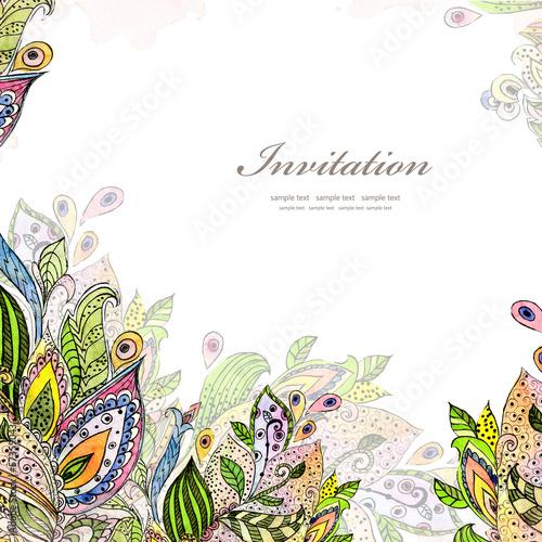 Foto op Canvas Bloemen vrouw Flower watercolor card