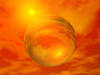 Sun and bubble - 3D render