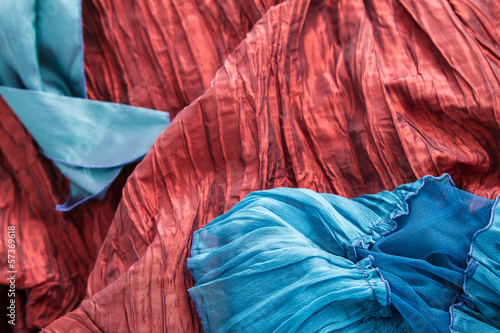 Fotografie, Obraz  Blue and red fabric.