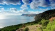 Cloudy sky over the mountains and the sea. Balaklava, Crimea, Uk
