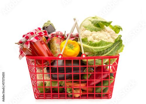 Obraz na plátně  Shopping basket full groceries