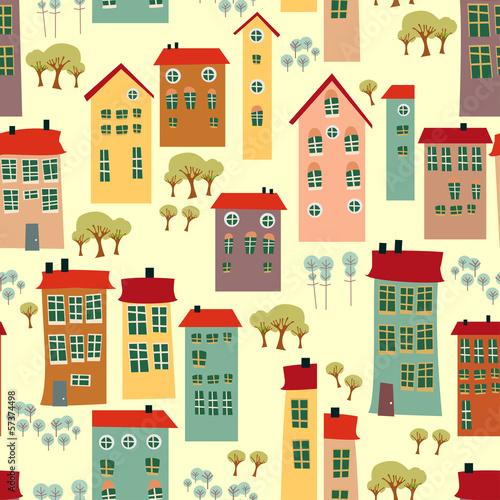 Foto op Plexiglas Op straat Doodle town houses seamless background