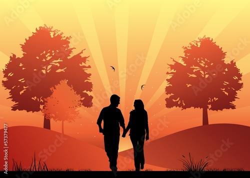 Foto op Aluminium Koraal Couple in love walking in the park