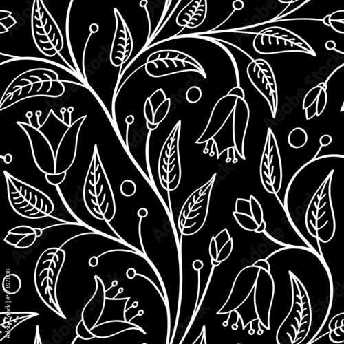 Poster de jardin Floral noir et blanc Seamless floral pattern with bellflowers, white on black