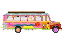 Jingle Car. Colourful Hippie Bus. Flat Vector.