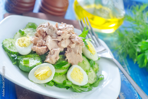 salad with cucumber and liver cod