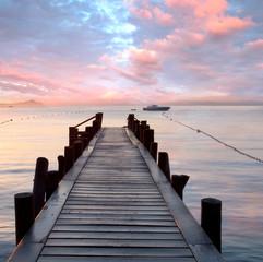 Obraz na Plexialter Holzsteg am Mittelmeer