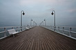 Sunrise on the pier at the seaside, Gdynia Orlowo, Poland. Long
