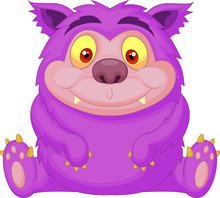 Cute Purple Monster Cartoon