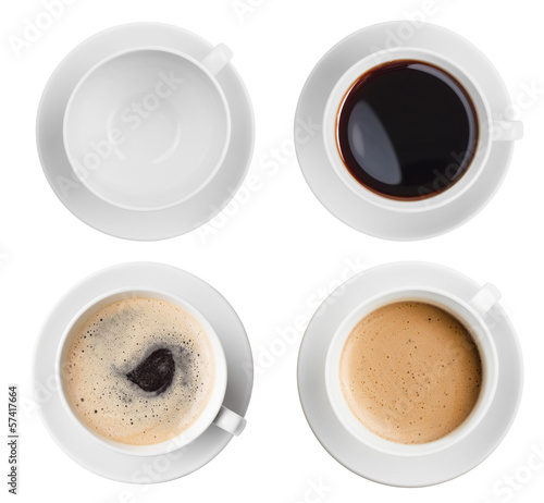 Papiers peints Cafe coffee cup assortment top view collection isolated