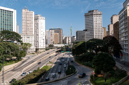 sao paulo city  traffic avenue