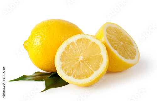 Sliced lemons with leaves Poster