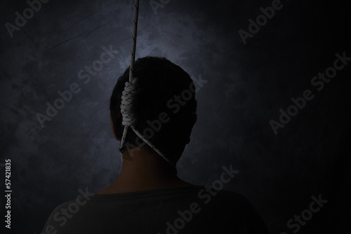 suicide, depressed man with a noose Fototapet