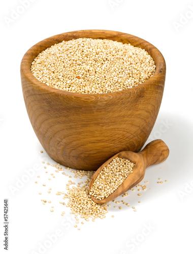 white quinoa in a wooden bowl Wallpaper Mural