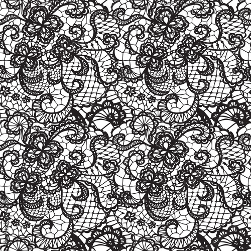 Fotografia, Obraz  Lace black seamless pattern with flowers on white background