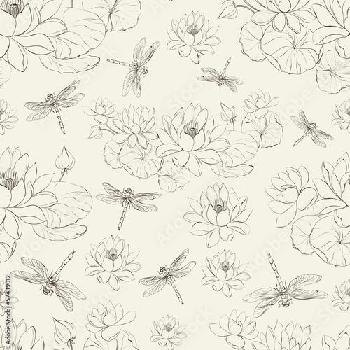 bezszwowy-deseniowy-lotosowy-kwiat-i-dragonfly