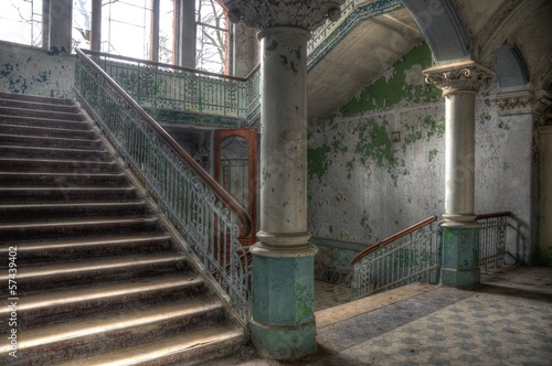 Photo Stands Old Hospital Beelitz Old abandoned entrance hall in beelitz