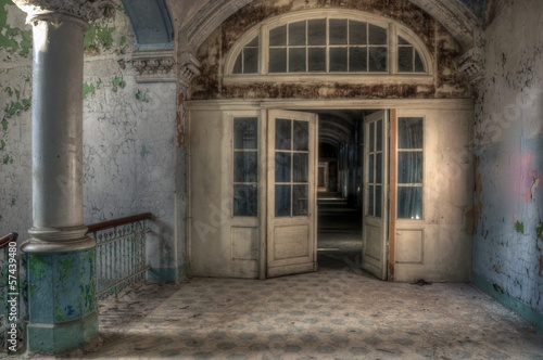Old lobby in ab abandoned hospital